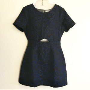 Lush Blue and Black Shimmer Mini Dress